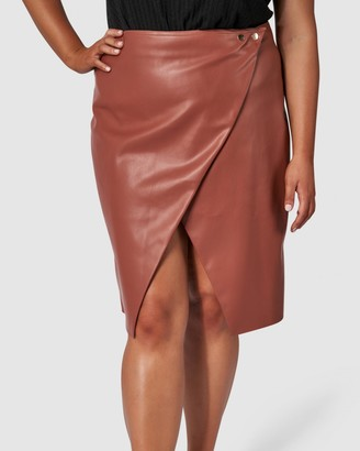 Something 4 Olivia - Women's Brown Leather skirts - Evie Pu Skirt - Size One Size, 12 at The Iconic