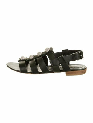 Balenciaga Leather Studded Accents Gladiator Sandals Green