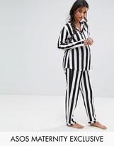 Asos Vertical Stripe Shirt & Trouser Pj Set