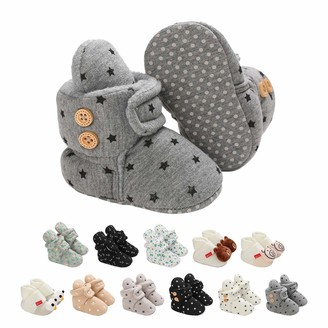 EDOTON Baby Booties for Boys Girls with Soft Cotton Lining Non Slip Gripper Newborn Infant Slipper Socks Toddler First Walker Crib Shoes 0-18 Months
