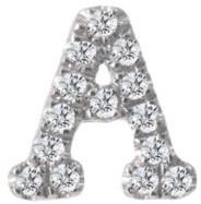 Meira T 14K White Gold Diamond Intial Single Stud Earring