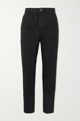 Prada Appliqued Cropped High-rise Straight-leg Jeans - Black