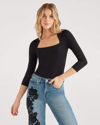 7 For All Mankind 3/4 Sleeve Square Neck Top in Jet Black