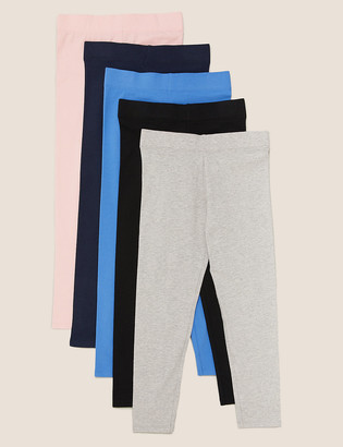 Marks and Spencer 5 Pack Cotton Leggings with Stretch (3-16 Years)