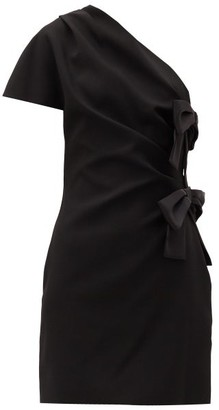 Saint Laurent One-shoulder Bow-tied Satin Mini Dress - Black