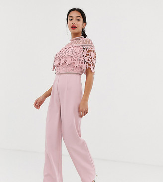 Chi Chi London high neck lace top jumpsuit in pink