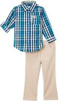 Kids Headquarters Blue Roll-Tab Button-Up & Beige Pants - Infant & Boys