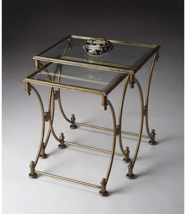Thumbnail for your product : Butler Handmade Beverly Antique Gold Metal and Glass Nesting Tables