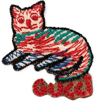 Gucci Embroidered cat brooch