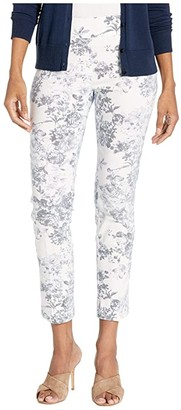 Elliott Lauren Fly Front Floral Pant w/ Center Crease (Chambray/White) Women's Clothing