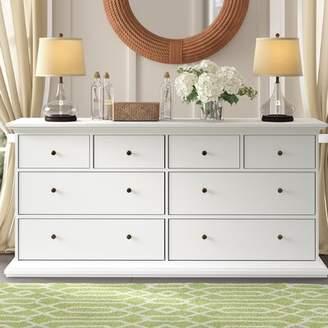 Beachcrest Home Breckenridge 8 Drawer Double Dresser Color: White