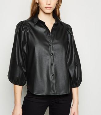 New Look Coated Leather-Look Balloon Sleeve Shirt