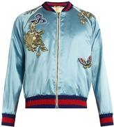 Gucci Bird-appliqué Silk-satin Bomber Jacket