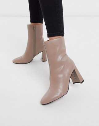 NA-KD almond toe ankle boots in taupe