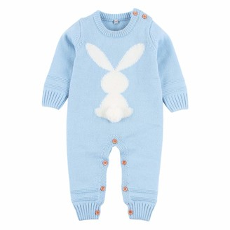 OBEEII Newborn Baby Boys Girls Ear Hooded Knitted Romper Sweater Jumpsuit Playsuit Overalls One-Piece Bodysuit Winter Autumn Outerwear