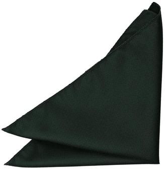 DQT Men Plain Solid Check Dark Green Pocket Square