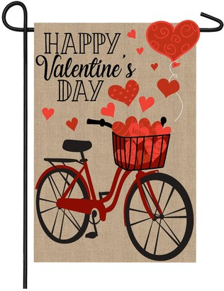 Evergreen Valentine's Day Burlap Bicycle Garden Flag