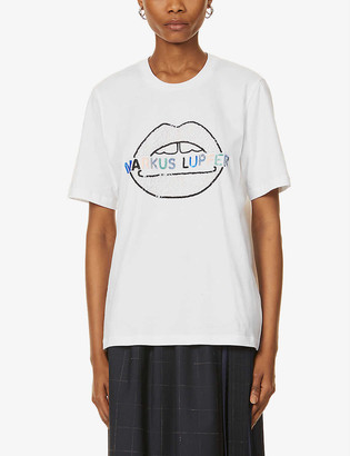 Markus Lupfer Alex logo sequin-embellished lip cotton-jersey T-shirt