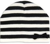 Block Stripe Beanie With Bow