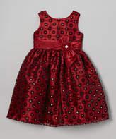 Jayne Copeland Red & Black Flocked Rhinestone Floral Dress - Toddler & Girls