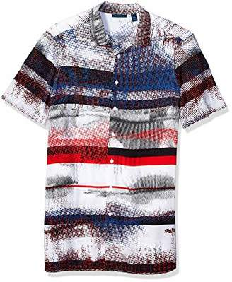 Perry Ellis Men's Big and Tall Graffiti Stripe Print Shirt