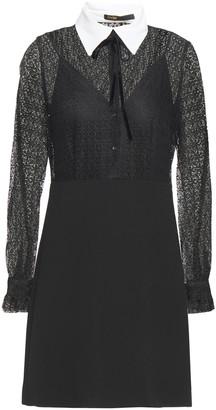 Maje Pussy-bow Guipure Lace And Crepe Mini Dress