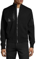 Ralph Lauren Full-Zip Jacket with Leather Trim, Black