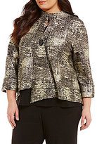 IC Collection Plus Stand Collar Single-Button Asymmetrical Printed Jacket