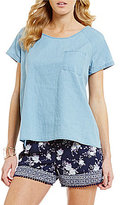 Takara Chambray Zip Sides High-Low Short-Sleeve Tee