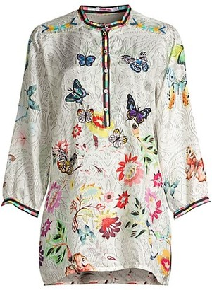 Johnny Was Kendra Printed Applique Silk Blouse
