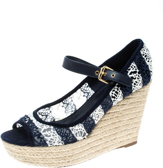 Louis Vuitton Blue/White Fabric and Mesh Open Toe Wedge Espadrille Sandals Size 39.5