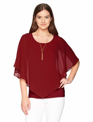 Amy Byer Women's V Front Popover Top with Necklace