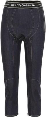 Dolce & Gabbana Logo denim biker shorts