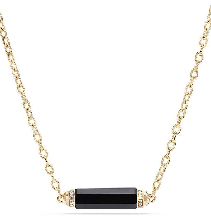 David Yurman Barrels Single Station Necklace with Black Onyx & Diamonds in 18K Gold