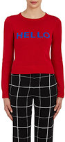 Lisa Perry Women's Intarsia-Knit Hello & Goodbye Sweater-RED