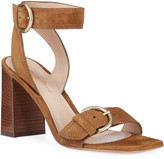 Gianvito Rossi Suede Buckle Ankle-Strap Sandals