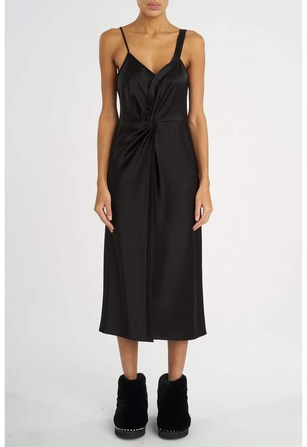 Alexander Wang Satin Knot Front Dress Black