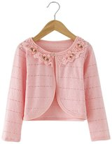 FEOYA Baby Girls Princess Flower Neckline Cotton Cardigan Sweater Bolero Shrug