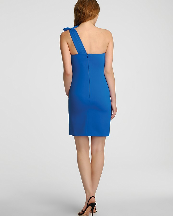 Halston One Shoulder Bow Detail Dress