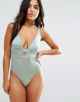 Asos FULLER BUST Exclusive Deep Plunge Swimsuit DD-G