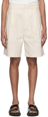 Tibi Off-White Myriam Pleated Shorts