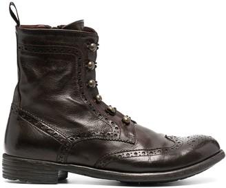 Officine Creative Brogue Detail Zip-Up Boots