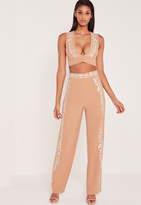 Missguided Carli Bybel Embroidered Side Wide Leg Pants Nude