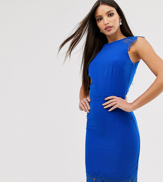 Paper Dolls Tall cap sleeve pencil dress with lace insert in cobalt-Blue