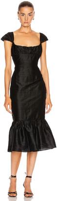 Markarian Mondella Ruched Flounce Dress in Black | FWRD
