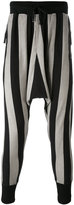 Unconditional striped drop-crotch drawstring trousers