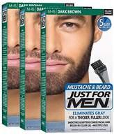 Just For Men Mustache & Beard Brush-In Color Gel, Dark Brown (Pack of 3)