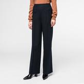 Paul Smith Women's Wide-Leg Navy Pinstripe Wool Trousers