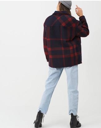 Very Check Print Lumberjack Shacket - Navy/Red