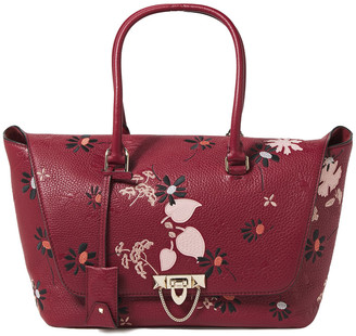 Valentino Demilune Embroidered Textured-leather Tote